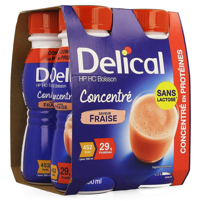 DELICAL GECONCENTR. AARDBEI 4X200ML