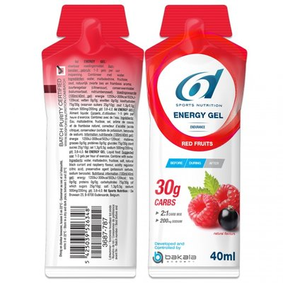 6D ENERGY GEL RODE VRUCHTEN - RED FRUITS 12X40G