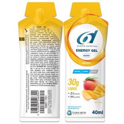 6D ENERGY GEL MANGO 12X40G
