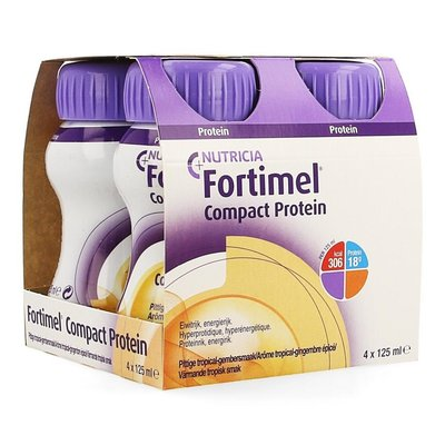 FORTIMEL COMPACT PROTEIN PITTIGE TROPICAL GEMBERSMAAK 4X125ML